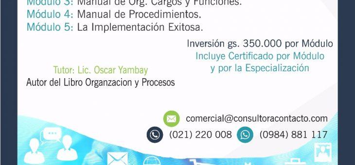 Curso de Especializacion a Distancia de Organizacion y  Metodo